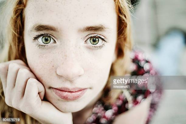 portrait of daydreaming girl with green eyes - wishful skin stock pictures, royalty-free photos & images