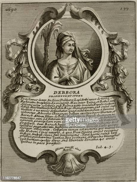 Portrait of Deborah Biblical judge human biblical figure engraving from Epitome historicochronologica gestorum omnium patriarcharum ducum judicum...