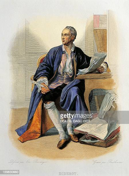 Portrait of Denis Diderot philosopher encyclopedist and writer Colour engraving 19th century