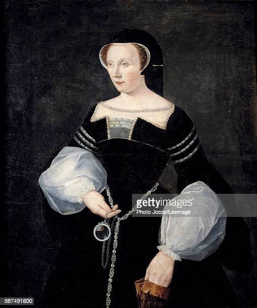 Portrait of Diane de Poitiers Lady of Breze Duchess of Valentinois in mourning dress widowed of Louis de Breze dead in 1531 holding a mirror circa...