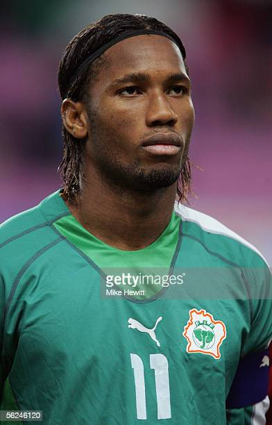 A portrait of Didier Drogba of Ivory Coast prior to the International friendly between Italy and Ivory Coast at the Stade de Geneva on November 16...