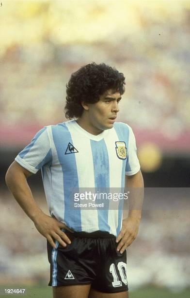 Portrait of Diego Maradona of Argentina during a match against Belgium in the 1982 World Cup in Spain. \ Mandatory Credit: Steve Powell/Allsport