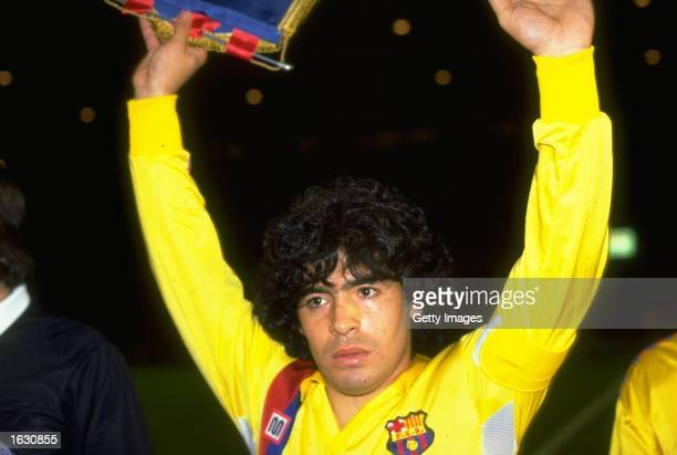 Portrait of Diego Maradona of Barcelona after a match against Manchester United at Old Trafford in Manchester England Mandatory Credit Allsport UK...