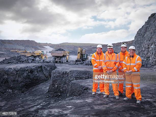 portrait of digger drivers in surface coal mine - geology stock pictures, royalty-free photos & images