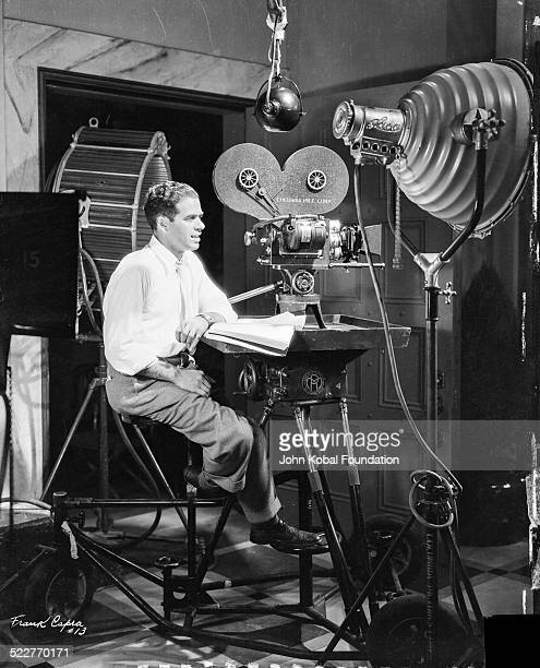 Portrait of director Frank Capra on a film set, with Columbia Pictures, 1938.