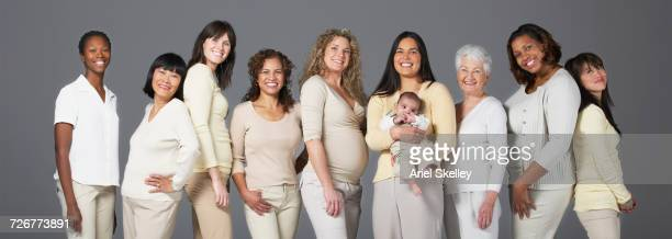 Portrait of diverse group of smiling women