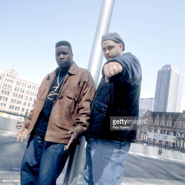 Portrait of DJ Richie Rich left and Pete Nice of the rap group 3rd Bass on the street in Chicago Illinois March 3 1993