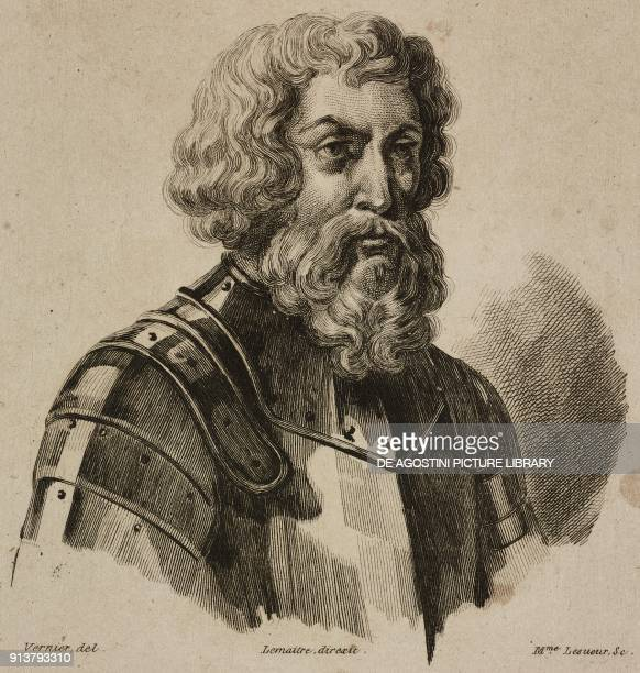 Portrait of Dmitry Ivanovich Donskoy or Dmitry of the Don Prince of Moscow and Grand Prince of Vladimir engraving by Lemaitre Vernier and Lesueur...