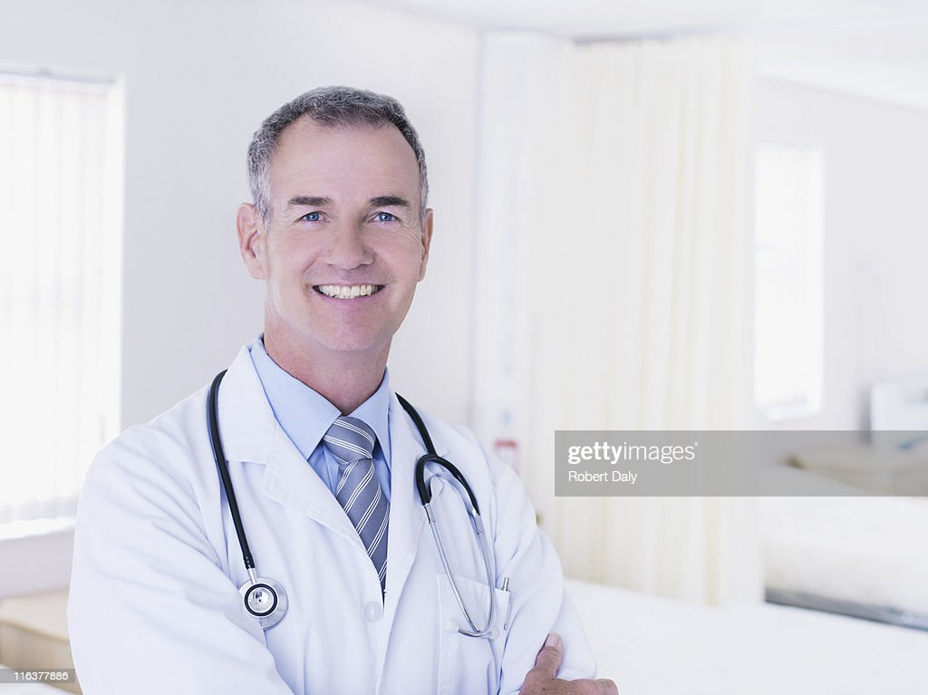 Portrait of doctor in hospital : Stock Photo