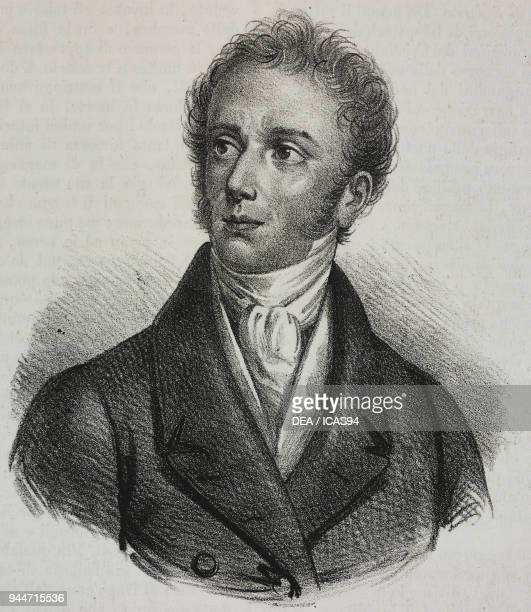 Portrait of Domenico Simeone Silva Italian scholar lithograph by Gaetano Riccio from Poliorama Pittoresco n 37 April 23 1842