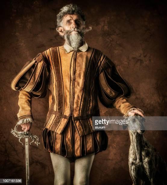 Retrato de Don Quijote con su galgo