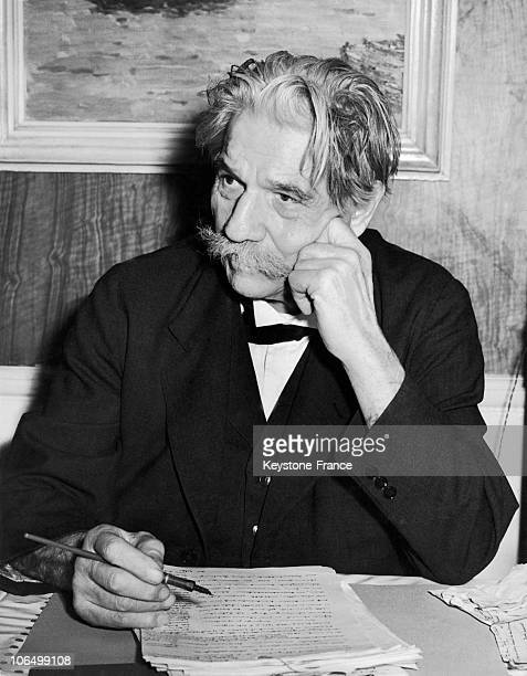 Portrait Of Dr Albert Schweitzer At A TeaRoom In London On October 18 1955 He Was Then In England To Receive The Order Of Merit From The Queen Of...