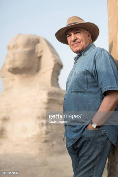 Portrait of Dr Zahi Hawass in front of the Sphinx and Pyramids of Giza on September 20 2016 in Cairo Egypt Zahi Hawass is an Egyptian archaeologist...