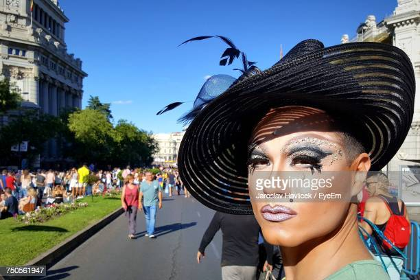 portrait of drag queen at city street - drag queen stock pictures, royalty-free photos & images