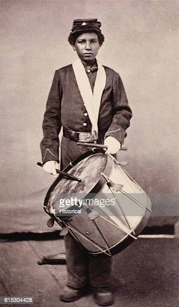 Portrait of 'Drummer' Jackson a former slave serving as a drummer in the 79th United States Colored Troops during the American Civil War Used in...