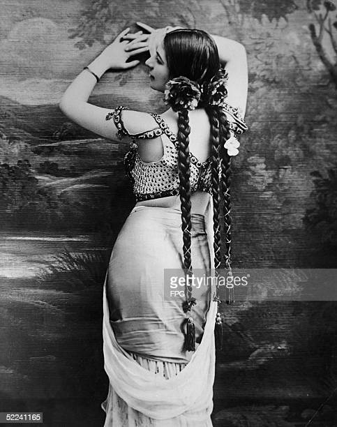 Portrait of Dutch dancer and spy Mata Hari who joined the German Secret Service in 1907 and reportedly betrayed many of the secrets confided to her...