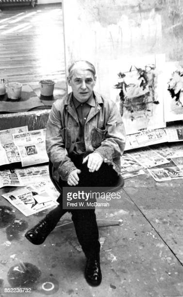 Portrait of Dutchborn American artist Willem de Kooning seated on a chair in his loft studio New York New York March 23 1962