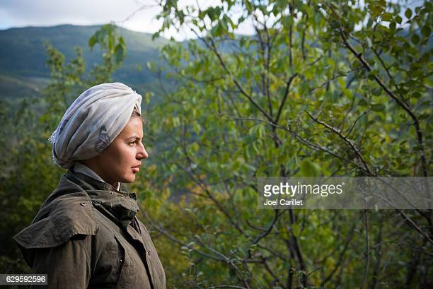 Portrait of east European woman traveling outdoors in Armenia