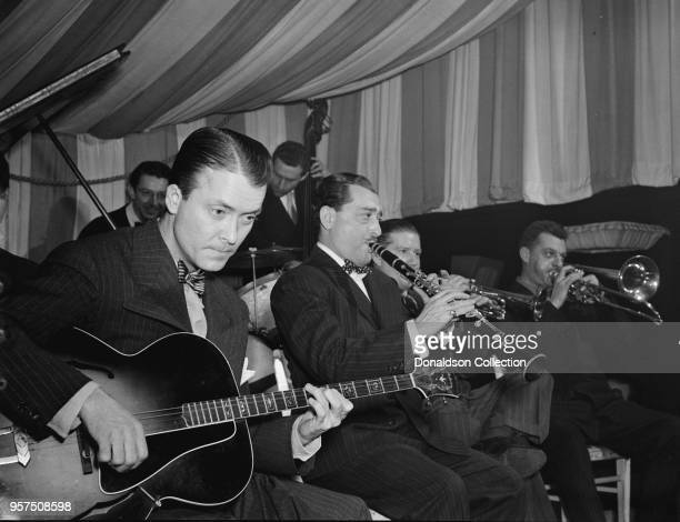 Portrait of Eddie Condon Tony Parenti Wild Bill Davison Brad Gowans Jack Lesberg and Freddie Ohms Eddie Condon's New York NY ca June 1946