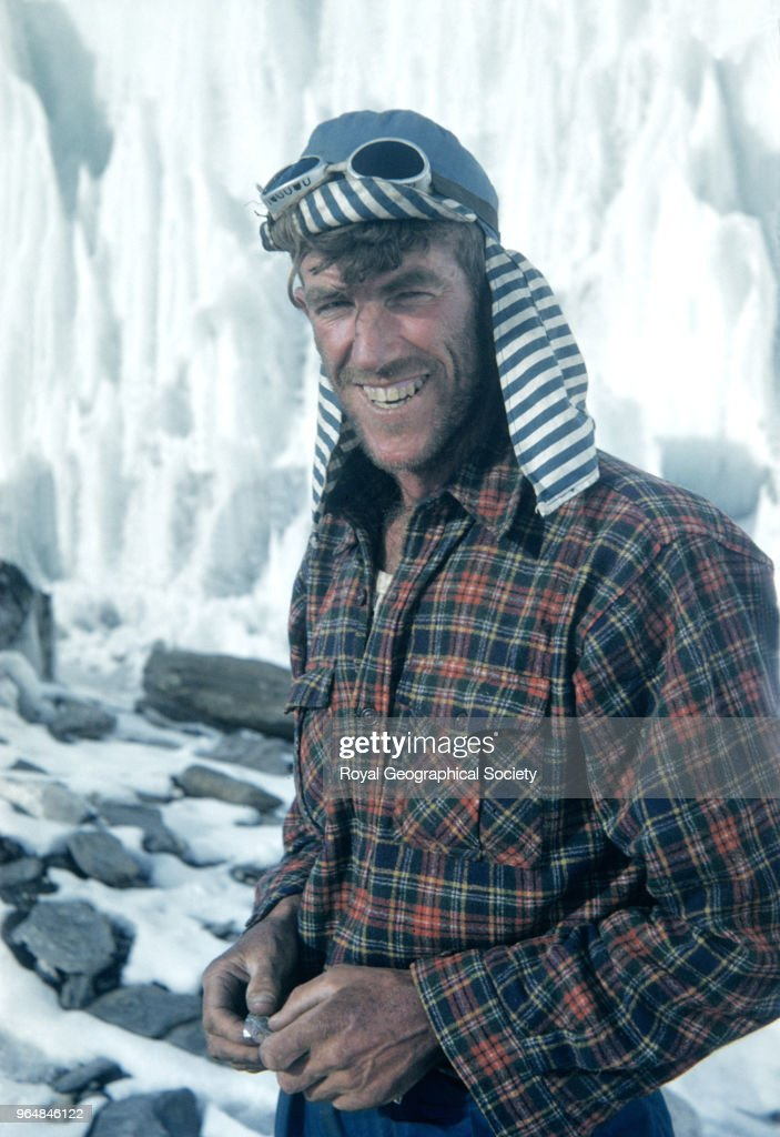Portrait of Edmund Hillary, Portrait of Edmund Hillary, a bee keeper from New Zealand wearing his inimitable blue striped hat at Camp IV on Mount Everest, Nepal, March 1953. Mount Everest Expedition 1953.