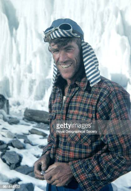 Portrait of Edmund Hillary Portrait of Edmund Hillary a bee keeper from New Zealand wearing his inimitable blue striped hat at Camp IV on Mount...