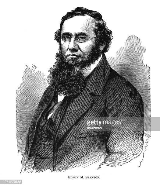portrait of edwin mcmasters stanton (december 19, 1814 – december 24, 1869), american lawyer and politician - american civil war stock pictures, royalty-free photos & images