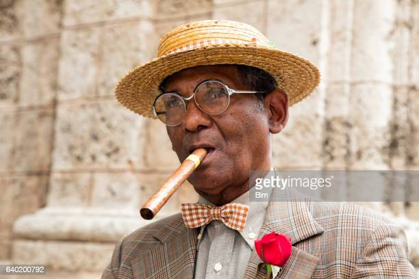 Portrait of elderly gentleman with cigar, Havana, Cuba