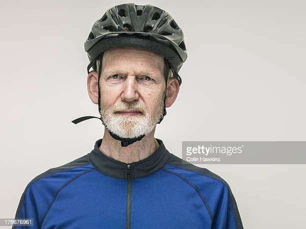 Portrait of elderly male cyclist
