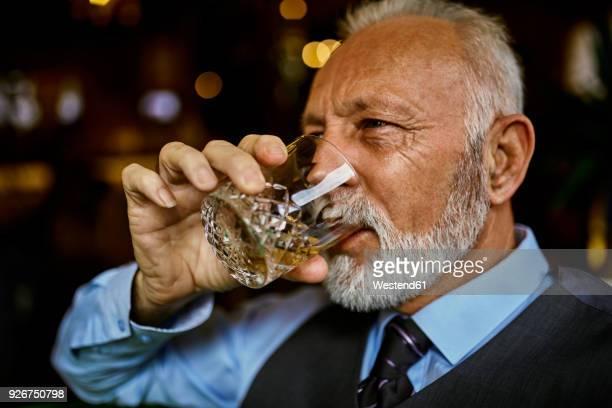 portrait of elegant senior man drinking from tumbler - bourbon whiskey stock-fotos und bilder