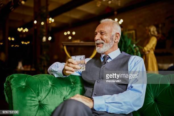 portrait of elegant senior man sitting on couch in a bar holding tumbler - bourbon whisky foto e immagini stock