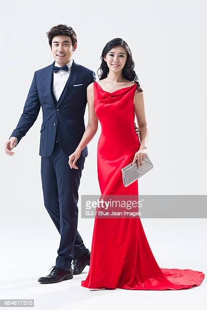 portrait of elegant young chinese couple - evening wear stock pictures, royalty-free photos & images