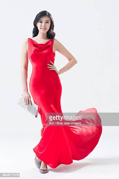 portrait of elegant young chinese woman - evening wear stock pictures, royalty-free photos & images