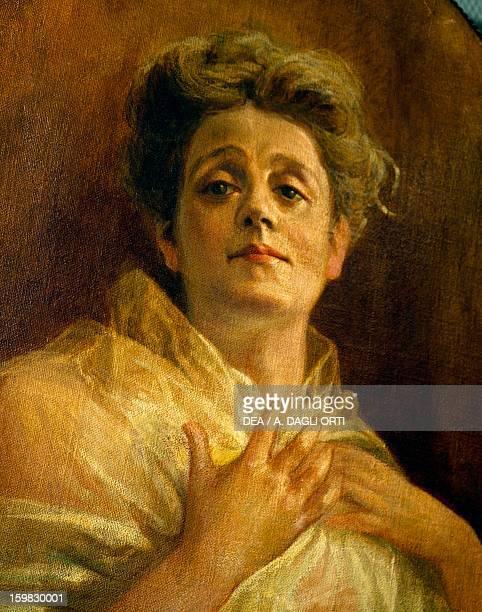 Portrait of Eleonora Duse Italian actress Painting by Eduardo Kaulbach Detail Milan Museo Teatrale