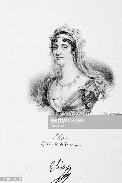 Portrait of Elisa Bonaparte , Grand Duchess of Tuscany, sister of Napoleon Bonaparte. Iconographie des contemporains depuis 1789 jusqu' 1829, tome...
