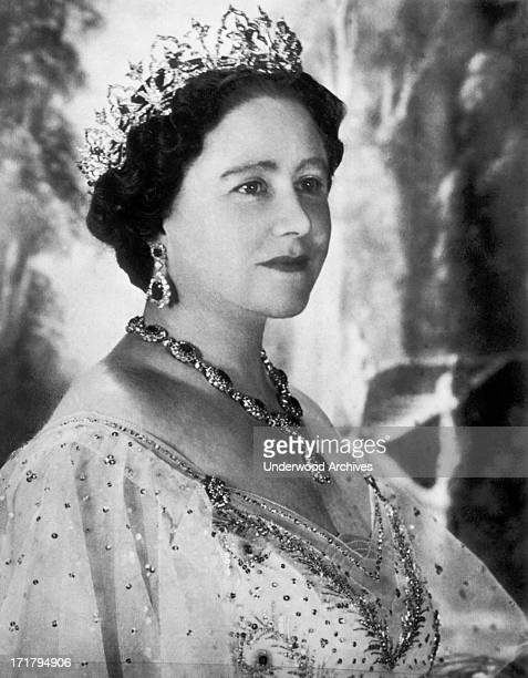 Portrait of Elizabeth Bowes-Lyon, Queen Elizabeth the Queen Mother on her 50th birthday, London, England, 1950.