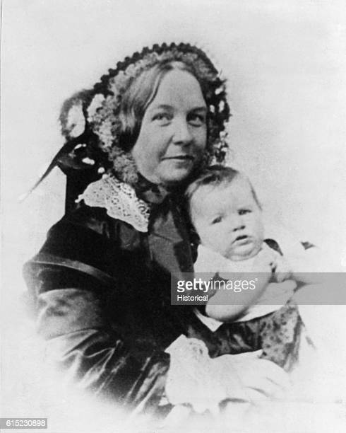 Portrait of Elizabeth Cady Stanton holding her infant daughter Harriot Stanton along with Susan B Anthony was an important leader of the women's...