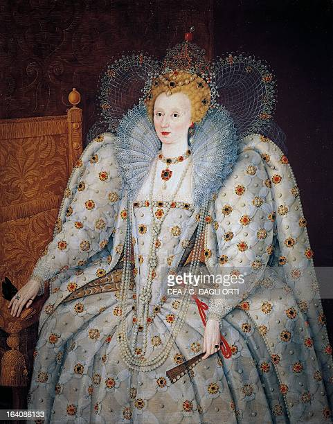 Portrait of Elizabeth I of England Queen of England and Ireland Painting attributed to the School of Marcus Gheeraerts the Younger oil on canvas 176...