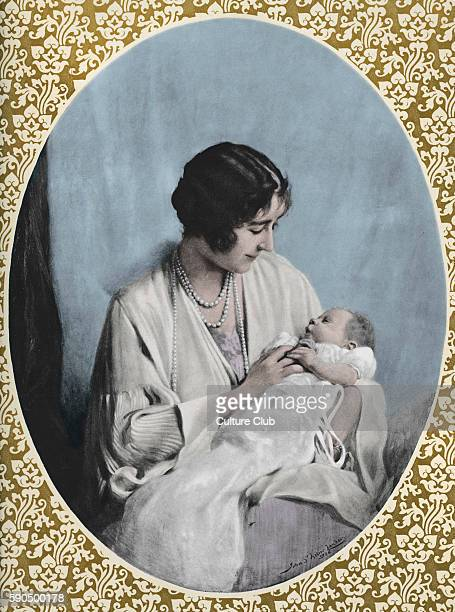 Portrait of Elizabeth II as a baby held by her mother, Elizabeth . After the painting by John Helier Lander.