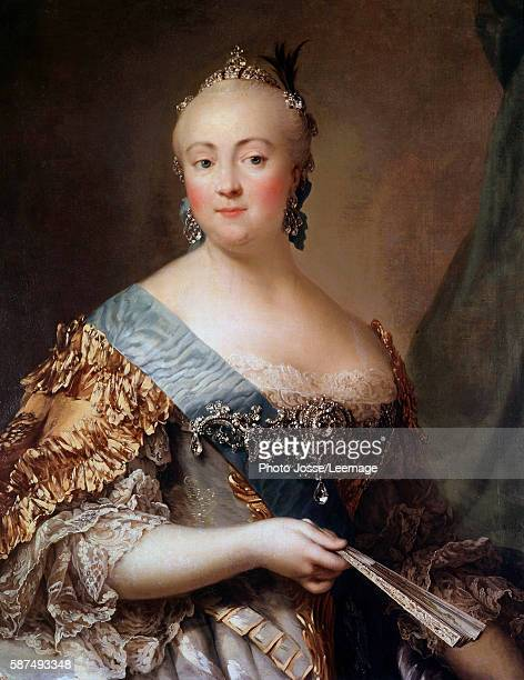 Portrait of Elizabeth Petrovna daughter of Peter the Great Empress of Russia as Elizabeth I Painting by Alexander Roslin 18th century Hermitage...