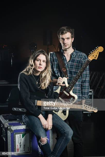 Portrait of Ellie Rowsell and Joff Oddie guitarists with English indie rock group Wolf Alice photographed before a live performance at The Great Hall...