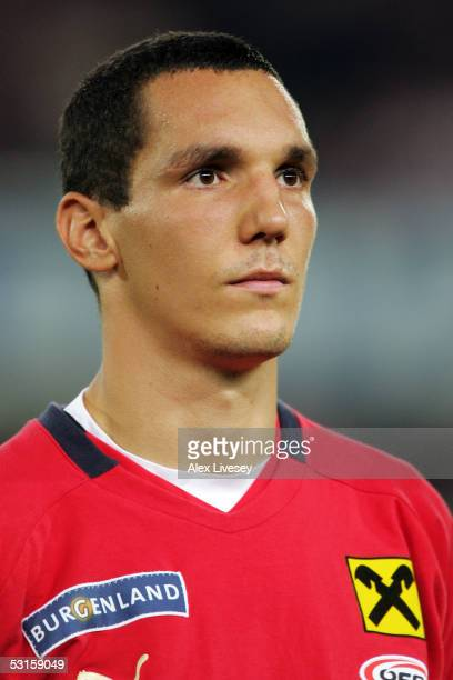 A portrait of Emanuel Pogatetz of Austria prior to the 2006 FIFA World Cup Qualifying game between Austria and England at the Ernst HappelStadium on...