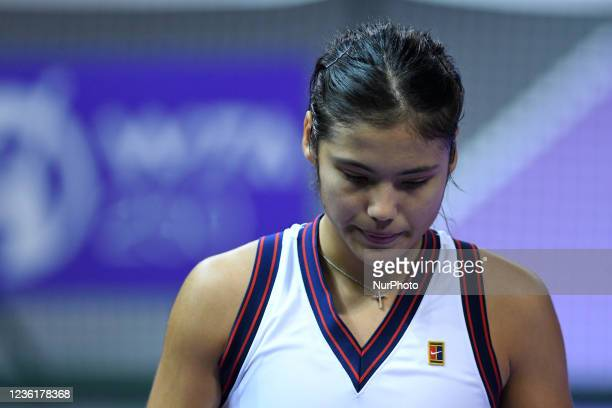 Portrait of Emma Raducanu during her match against Polona Hercog on day four of WTA 250 Transylvania Open Tour held in BT Arena, Cluj-Napoca 26...