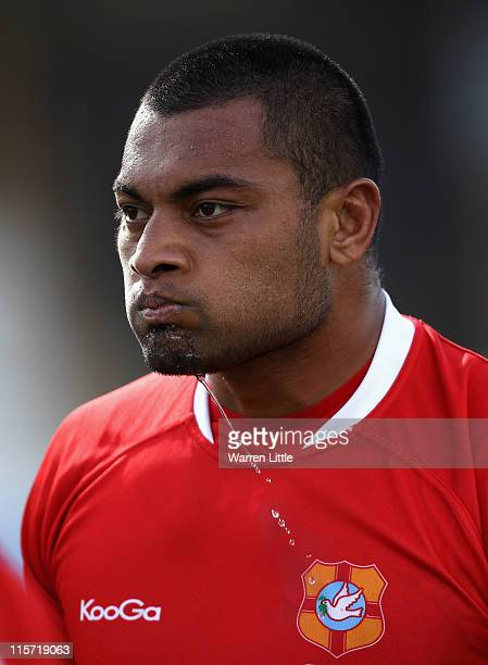 A portrait of Emosi Kauhenga of Tonga during the Churchill Cup match between Tonga and the USA at Esher RFC on June 8 2011 in Esher England
