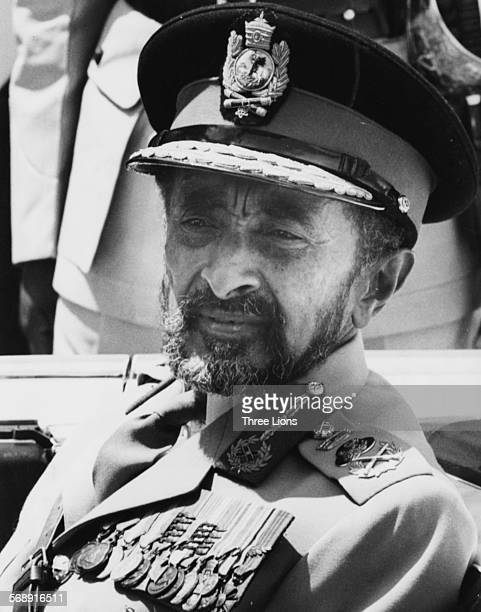 Portrait of Emperor Haile Selassie of Ethiopia wearing military uniform circa 1970