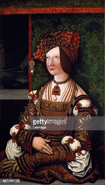 Portrait of Empress Bianca Maria Sforza , second wife of Maximilian I, Holy Roman Emperor. Painting by Bernhard Strigel Dim. 76x43,5. Vienna,...