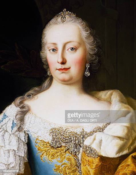 Portrait of Empress Maria Theresa of Austria , Empress consort of Francis I Emperor of the Holy Roman Empire, painting by Martin van Meytens II ....