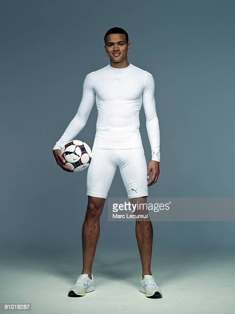 Portrait of England football International Jermaine Jenas taken during a photoshoot for the Puma Bodywear UK Campaign held on April 14 2008 in London...