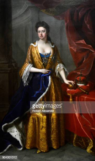 A portrait of England's Queen Anne painted in 1705 by Michael Dahl is on display at the National Portrait Gallery in London England Anne reigned...