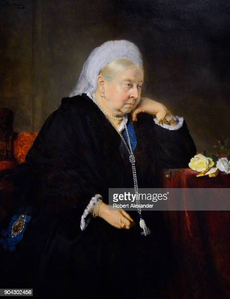 A portrait of England's Queen Victoria painted in 1900 by Bertha Muller is on display at the National Portrait Gallery in London England The painting...