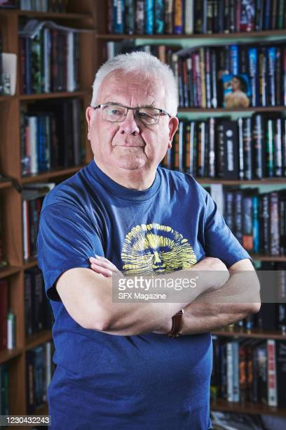 Portrait of English author Ramsey Campbell, photographed in Liverpool, England, on February 12, 2020. Campbell is best known as a writer of horror...
